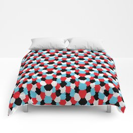 Catchy Artistic Pattern from Brush Blots in Black, White, Red and Blue Comforters