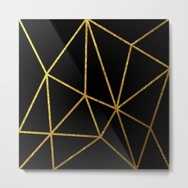 gold line triangles on blkack background Metal Print