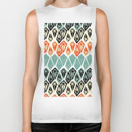 Abstract geometric hand painted red black teal diamond shapes Biker Tank