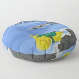 Lego Beach Acrylics Impressionist Fine Art Floor Pillow