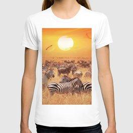 Wild zebras and antelopes. African savannah. Beautiful nature sunset T-shirt