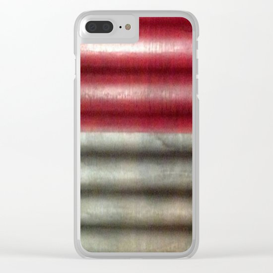 Industrial Wall   Red Grey Striped Wall   Contemporary Art Clear iPhone Case