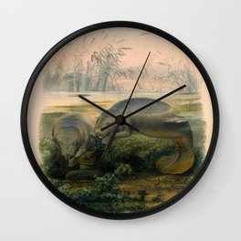 Vintage Scientific illustration, c. 1880 (Manatees) Wall Clock
