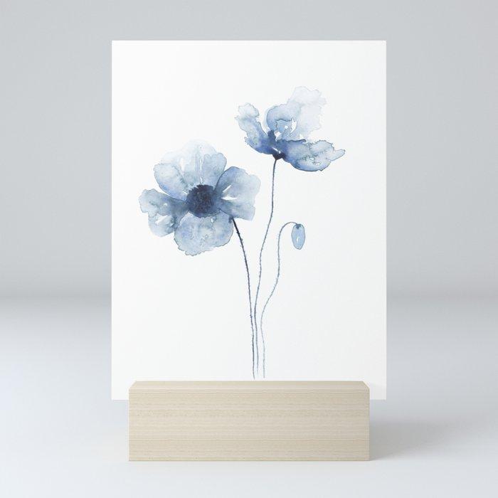 Blue Watercolor Poppies Mini Art Print
