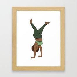 Melanin Yogi Handstand Flow • Thick Fit Yogi • Forest tone Yoga Framed Art Print
