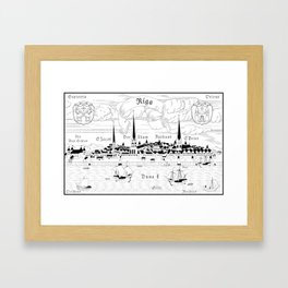 Riga 1544 (black on white) Framed Art Print