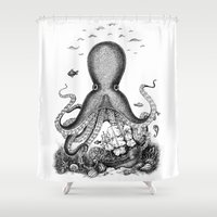 octopus Shower Curtains featuring Octopus by Eugenia Hauss