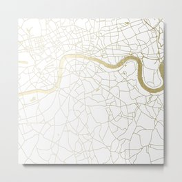 White on Yellow Gold London Street Map Metal Print