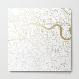 White on Yellow Gold London Street Map Metal Print