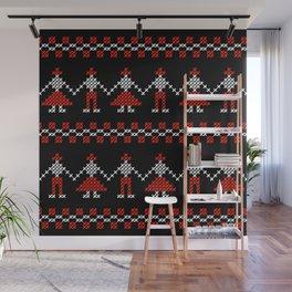 Traditional Romanian dancing people cross-stitch motif black Wall Mural