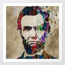 Abraham Lincoln Watercolor Modern Abstract GIANT PRINT ART Art Print