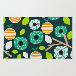 Oranges and flowers Rug