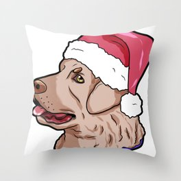 Chesapeake Bay Retriever Dog Christmas Hat Present Throw Pillow