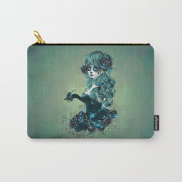 Sugar skull girl in blue Carry-All Pouch