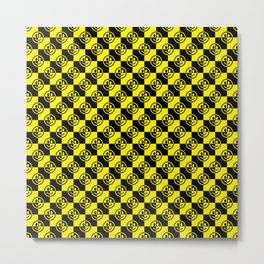 Yellow and Black Smiley Face Check Metal Print