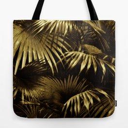 Fall Leaves Botanic Jungle Garden Palm Gold Tote Bag