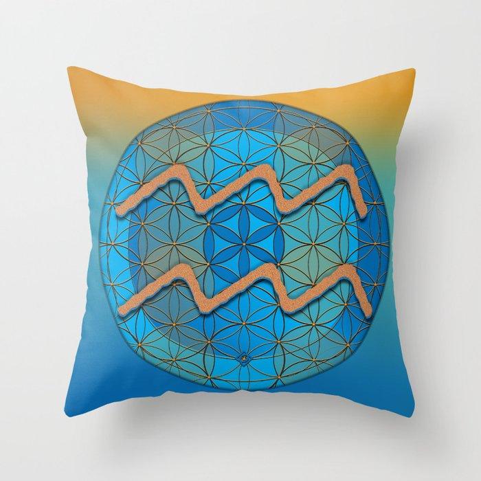 AQUARIUS Flower of Life Astrology Design Throw Pillow