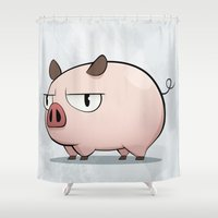 pig Shower Curtains featuring Pig by Oinkasaurus