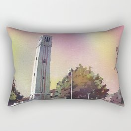 Painting of the North Carolina Statue University Bell-Tower in Raleigh, NC at dusk. NCSU artwork bell tower Rectangular Pillow