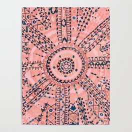 Light Pink Wildflower Sunshine I // 18th Century Colorful Pinkish Dusty Blue Gray Positive Pattern Poster