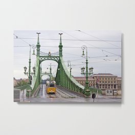 Yellow Tram in Budapest Metal Print