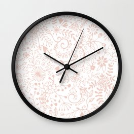Floral Pattern Pink on White Wall Clock