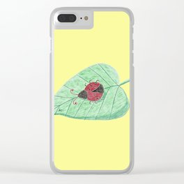 Ladybug on a leaf Clear iPhone Case