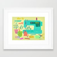 calender Framed Art Prints featuring DIY-create your life-2016 Calender by Elisandra