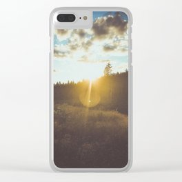 sunset slanted in a field Clear iPhone Case