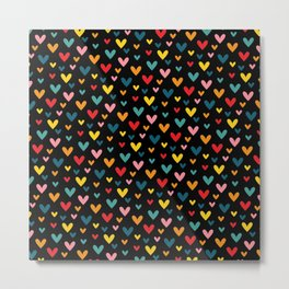Happy Hearts on Black Metal Print