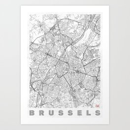 Brussels Map Line Art Print