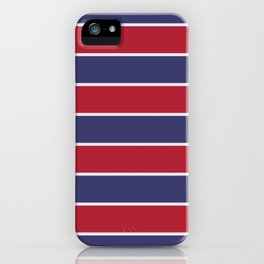 Large Red White and Blue USA Memorial Day Holiday Horizontal Cabana Stripes iPhone Case