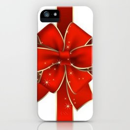 Red Bow on white iPhone Case