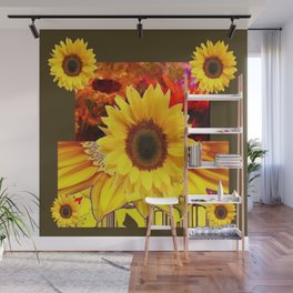 KHAKI COLOR MODERN YELLOW SUNFLOWERS ABSTRACT Wall Mural