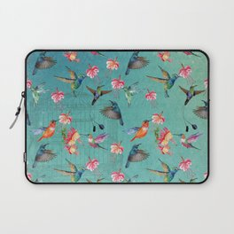 Vintage Watercolor hummingbirds and fuchsia flowers Laptop Sleeve