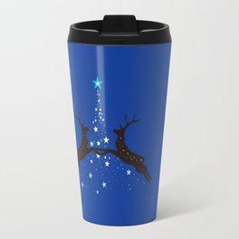 Christmas with reindeer - Blue Travel Mug