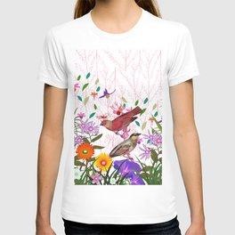 Colorful pink purple floral bird illustration T-shirt