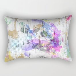 Subdued Running Paint Multi Pattern Abstract Rectangular Pillow