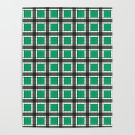 Jade Green Plaid Pattern Poster