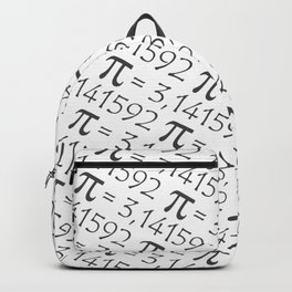 The Pi symbol mathematical constant irrational number, greek letter, pattern background center Backpack