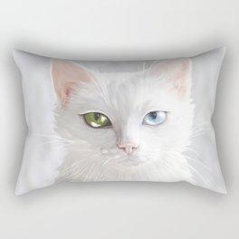 Heterocromia. White cat. Kitty. Cat lover. cat eyes Rectangular Pillow