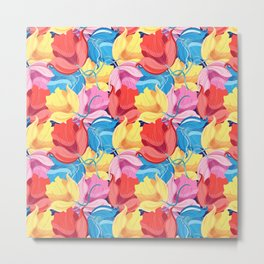 Seamless graphic pattern of colorful beautiful flowers Metal Print