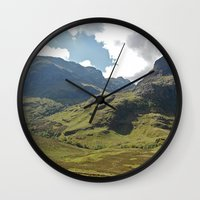 scotland Wall Clocks featuring Scotland Hills by Shelly Navarre