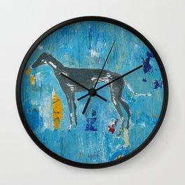 Greyhound Dog Abstract Painting Wall Clock