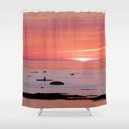 Kayaker and Bird at Last Light Shower Curtain