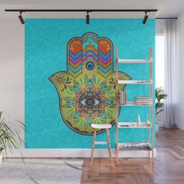 Colorfull  Hamsa Hand with paisley Wall Mural