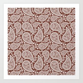 Paisley (White & Brown Pattern) Art Print