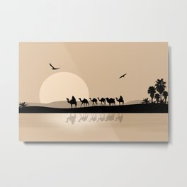 Camel Caravan going through the Desert Metal Print