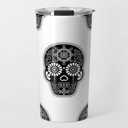 Día de Muertos Calavera • Mexican Sugar Skull – Black Palette Travel Mug