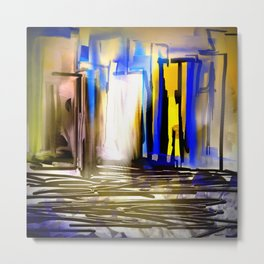 Blue and Yellow City Metal Print